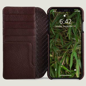 Wallet Wood iPhone Xs Max Leather Case