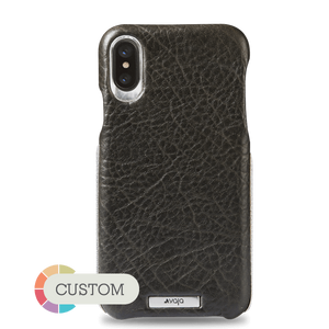 Customizable Grip Silver iPhone X / iPhone Xs Leather Case