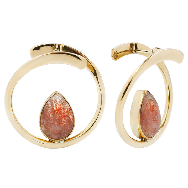 Sunstone + Brass hoop earrings