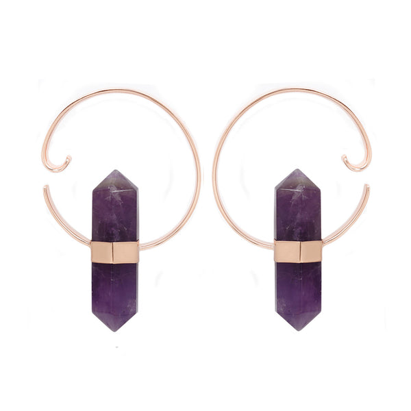 Alchemy Weights - Amethyst + Rose Gold Hook