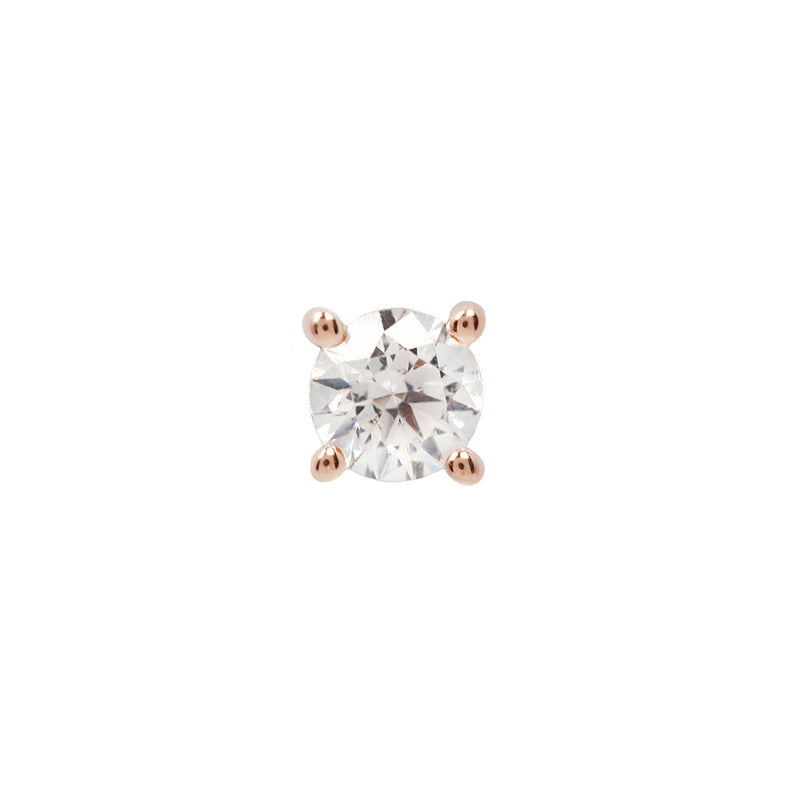Genuine White Diamond Prong in Rose Gold 1
