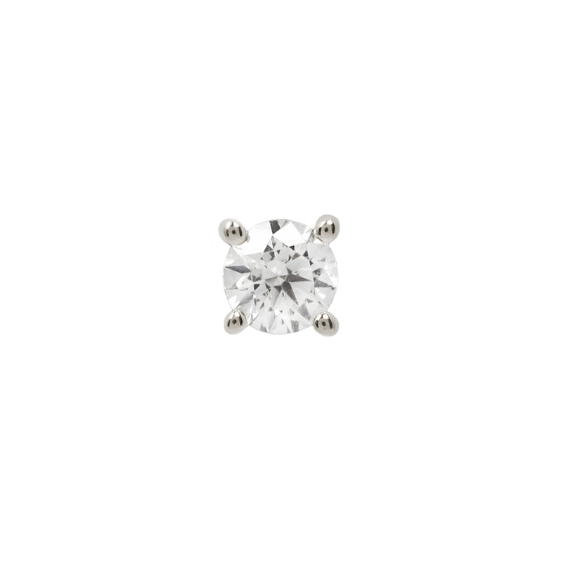 Genuine White Diamond Prong in white Gold