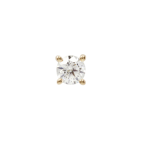 Genuine White Diamond Prong in yellow Gold