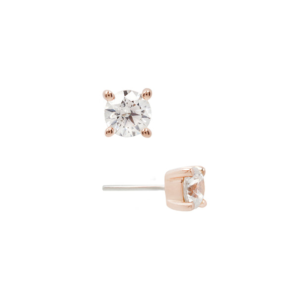 Genuine White Diamond Prong in Rose Gold