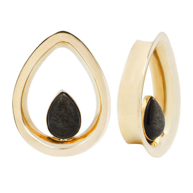 Evoke Mayan Teardrops - Yellow Gold + Golden Obsidian