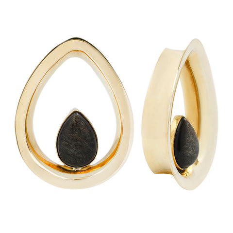 Evoke Mayan Teardrops - Golden Obsidian + Yellow Gold