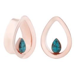 Evoke Mayan Teardrops - Genuine Turquoise + Rose Gold