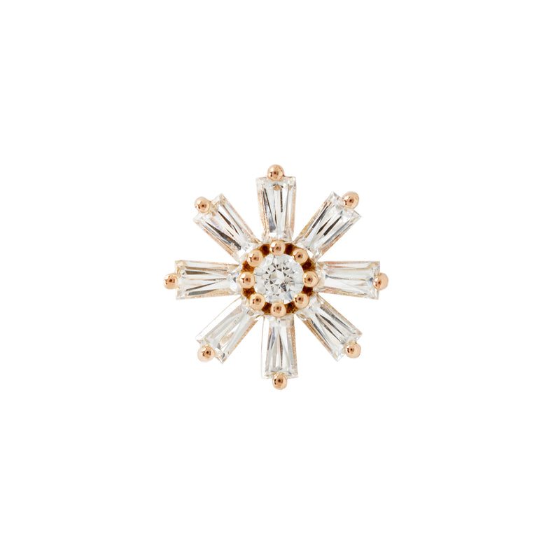 Deliah Baguette Flower Yellow Gold
