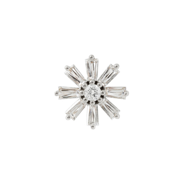 Deliah Baguette Flower White Gold