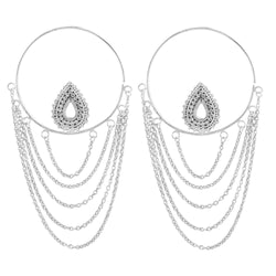 Deity Hoop Earrings in White Gold Plated