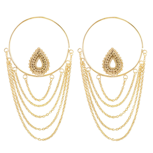 Deity Hoop Earrings in Yellow Gold Plated