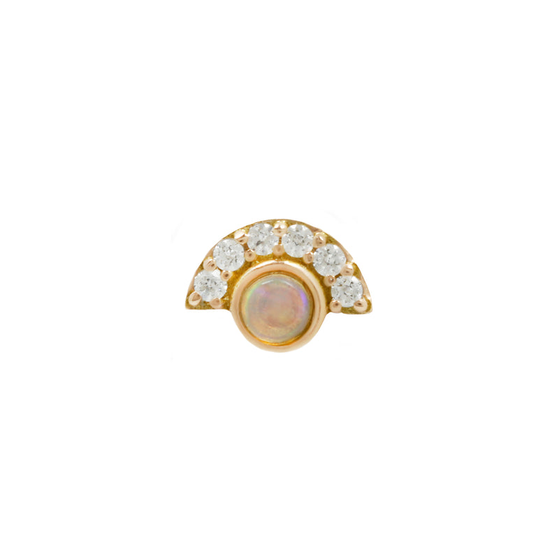 Kahlo Opal + CZ in solid yellow gold