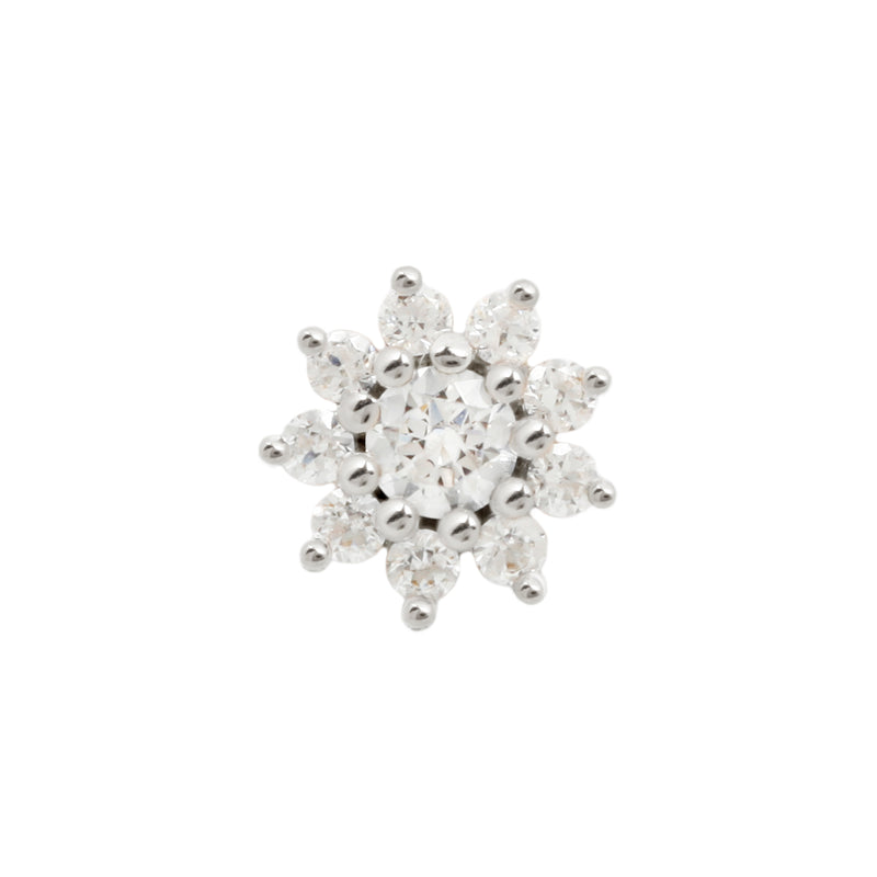 Eloise Flower CZ in solid white gold