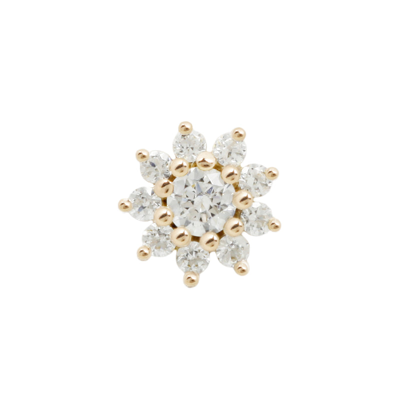 Eloise Flower CZ in solid yellow gold