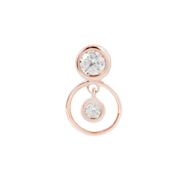 Solid rose gold Swarovski CZ earring for piercings