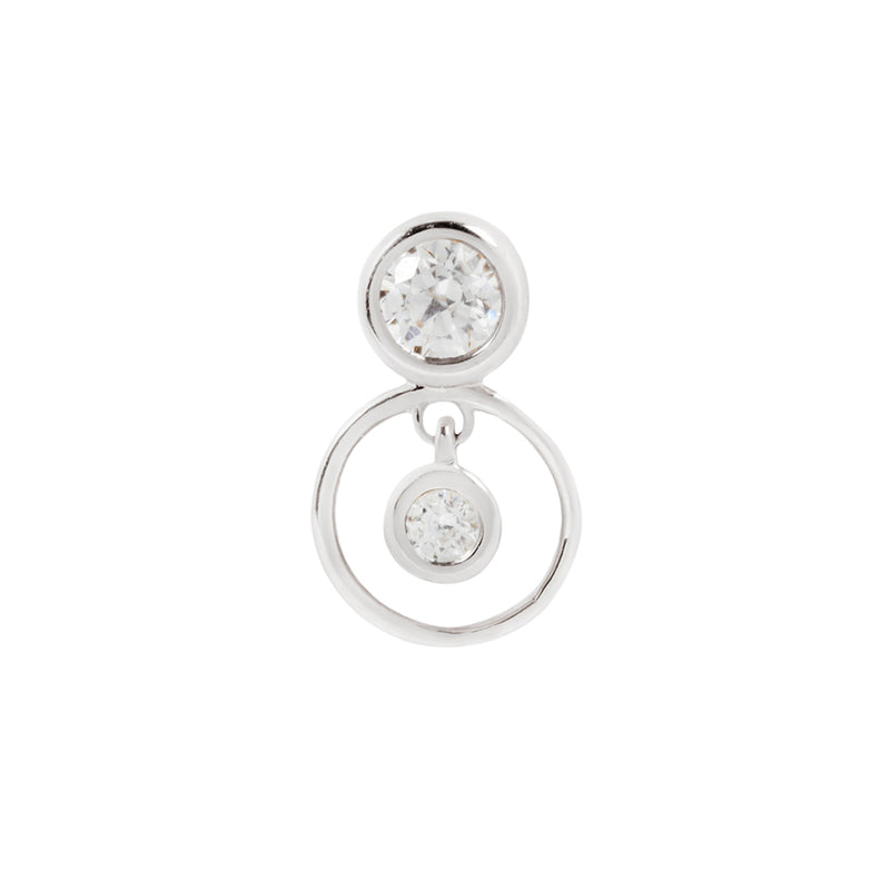 solid white gold Swarovski CZ earring for piercings
