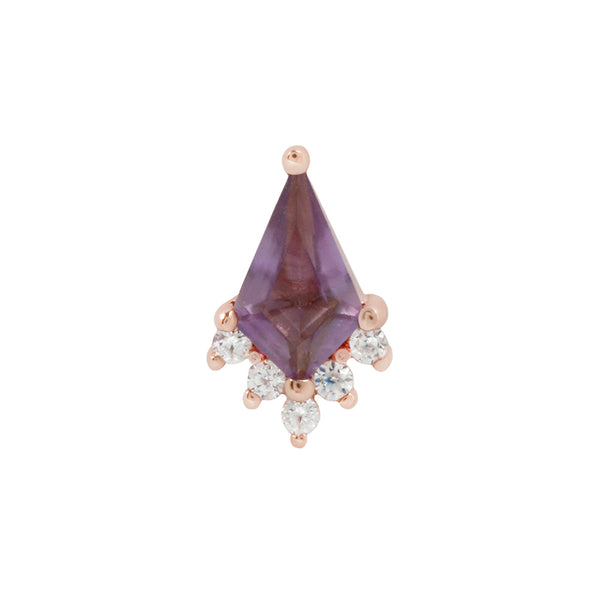 Solid rose gold amethyst earring