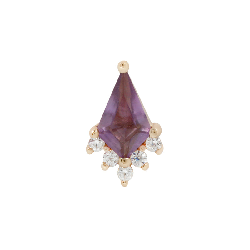 Solid yellow gold amethyst earring
