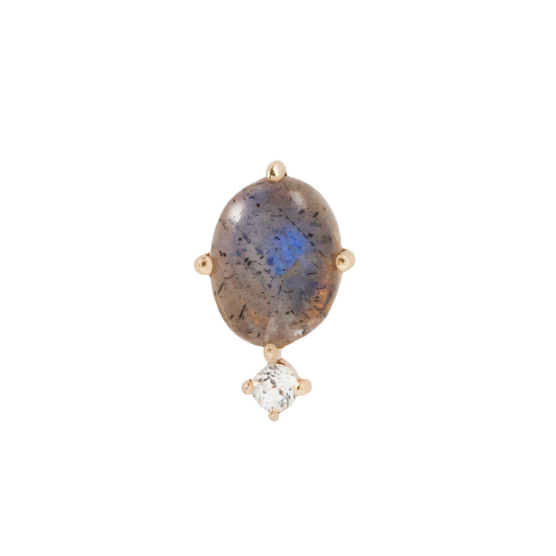 Solid yellow gold labradorite earring