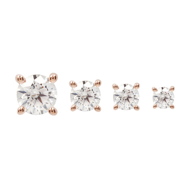 Swarovski Crystal Prong solid rose gold