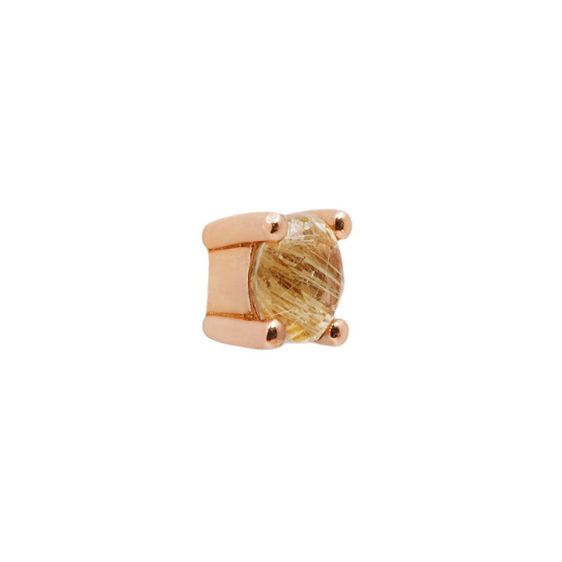 Rutilated Quartz Prong Solid Rose Gold side view