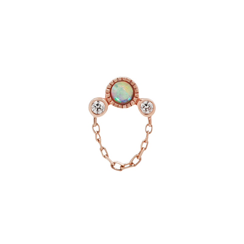 Halston Opal + Chain in solid rose gold