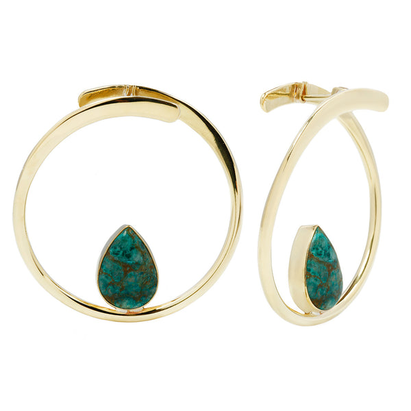 Stay Sexy Earrings - Brass + Chrysocolla