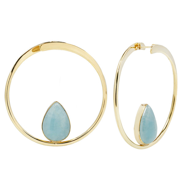 Stay Sexy Earrings - Brass + Aquamarine