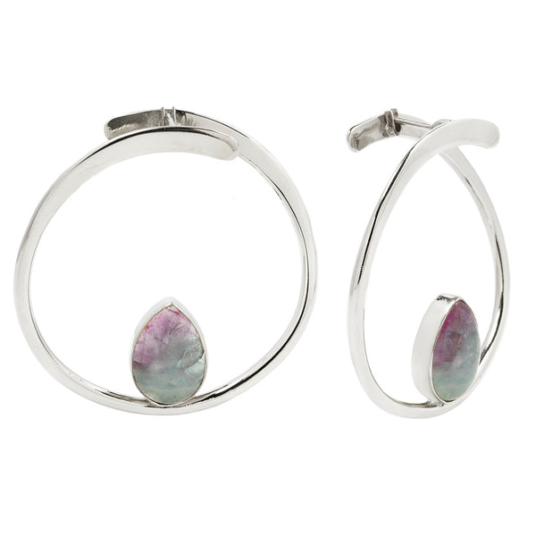 Stay Sexy Earrings - Sliver + Rainbow Fluorite