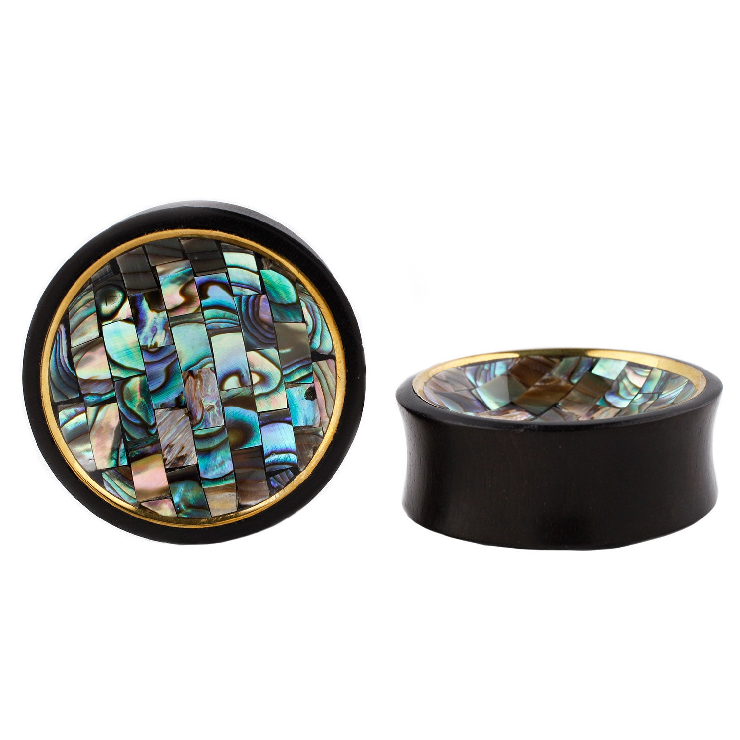 Abalone Brick Inlay with Brass Rim Plug