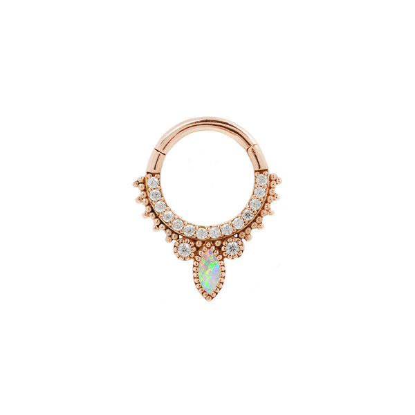 Rose Gold Opal CZ Airelle Clicker for piercings