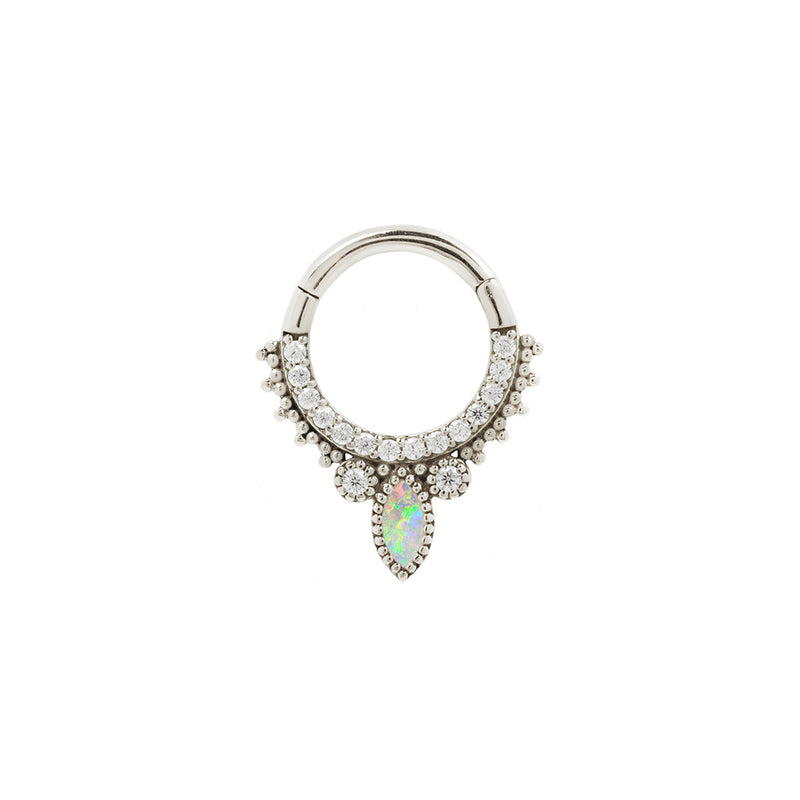 White Gold Opal CZ Airelle Clicker for piercings