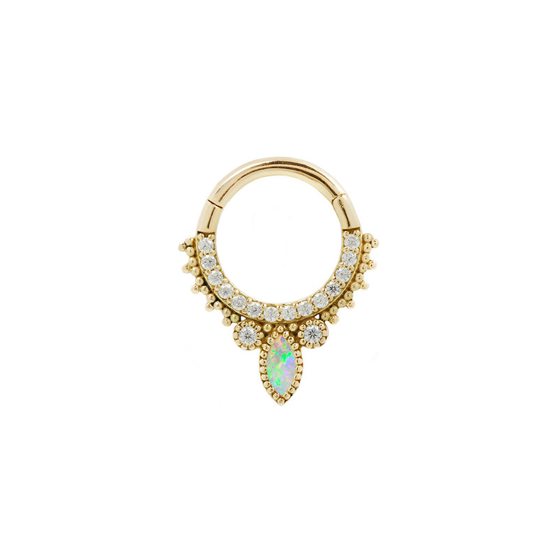 Yellow Gold Opal CZ Airelle Clicker for piercings