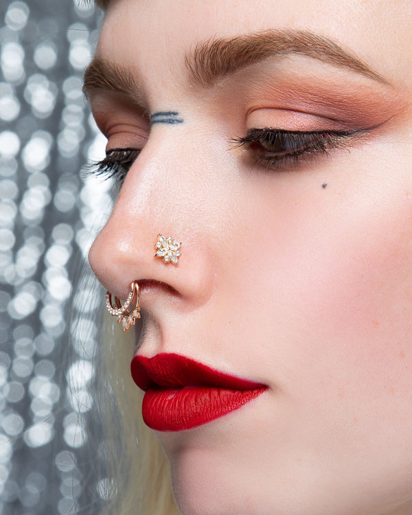 Jonquil in nostril piercing