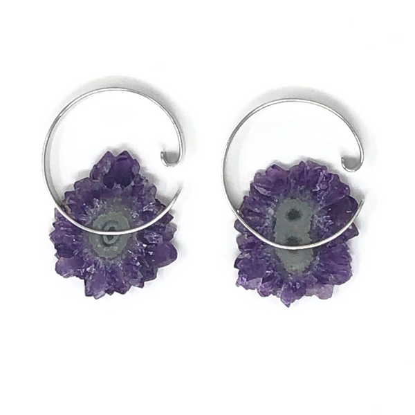 Halo Hoops Medium - Amethyst + White Gold C5