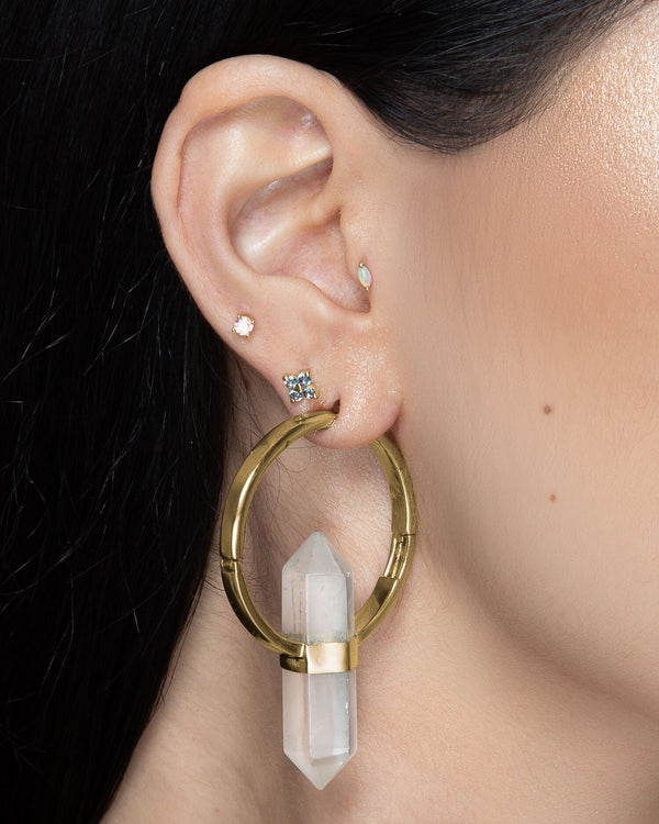 Zuri Marquise Opal in Solid Gold in Tragus Piercing