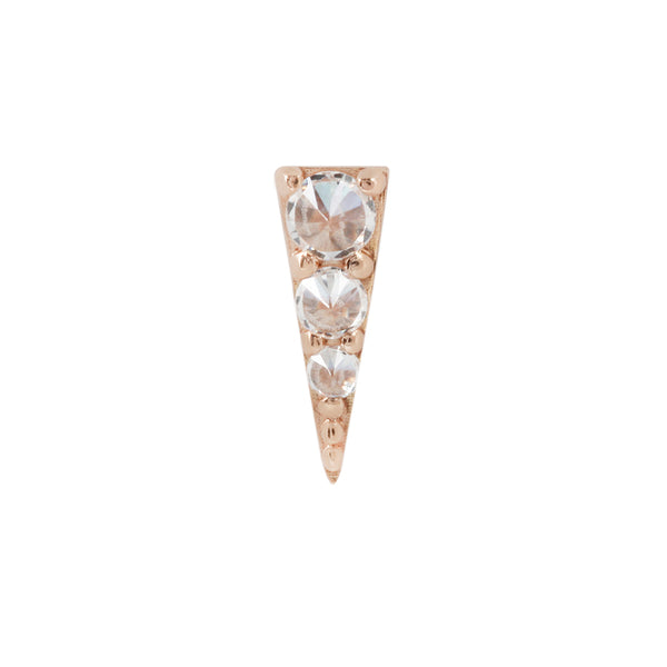 solid gold Swarovski CZ earring for piercings