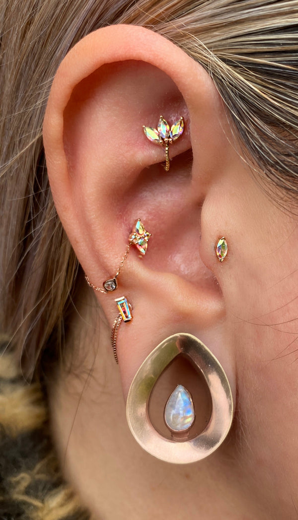 Ethereal in Mercury Mist in ear piercing