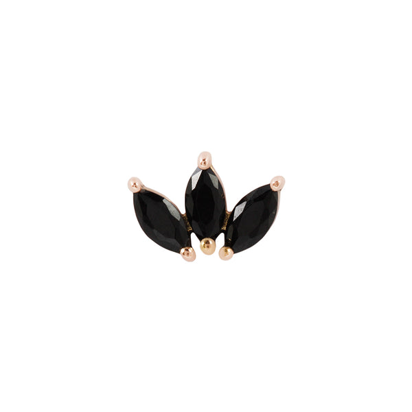 Solid rose gold Black Spinel Earring for Piercings