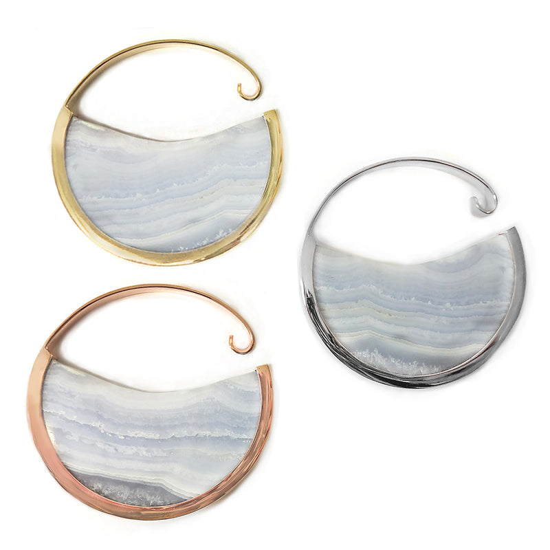 Muse Hoops - Blue Lace Agate + Gold Plated