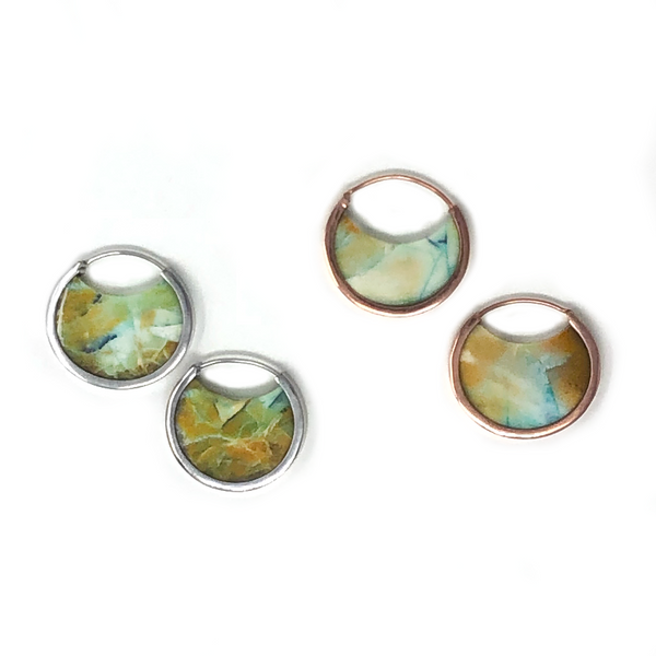 Muse Hoops - Opalized Fossilized Wood
