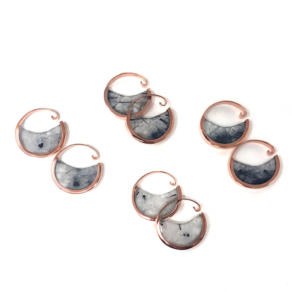 Muse Hoops - Tourmalated Quartz Small