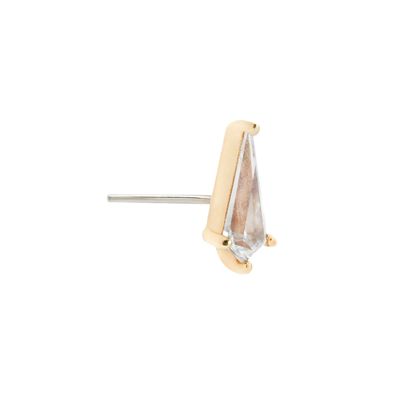 Kite Cut Swarovski CZ solid yellow gold earring side view