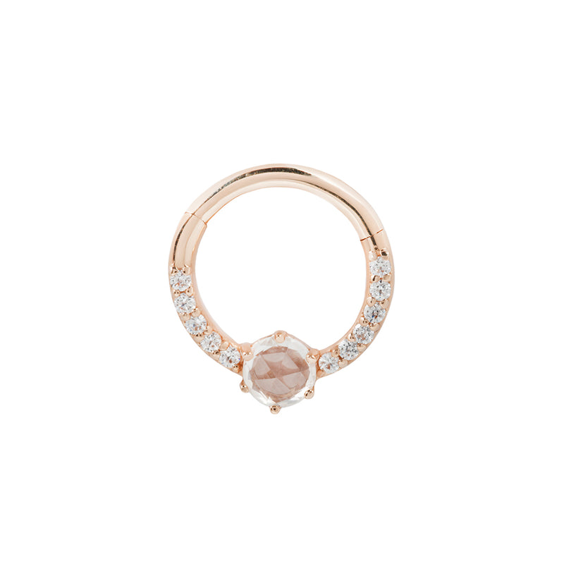 Rose gold piercing ring with cz's and saphire