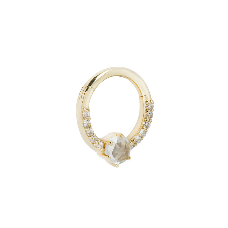 yellow gold piercing ring with cz's and saphire side view