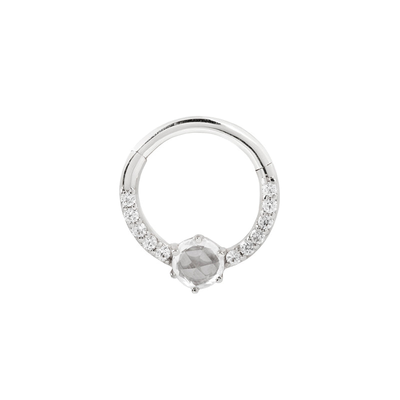 white gold piercing ring with cz's and saphire