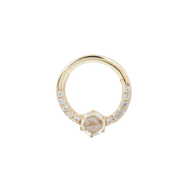 Yellow gold piercing ring with cz's and saphire
