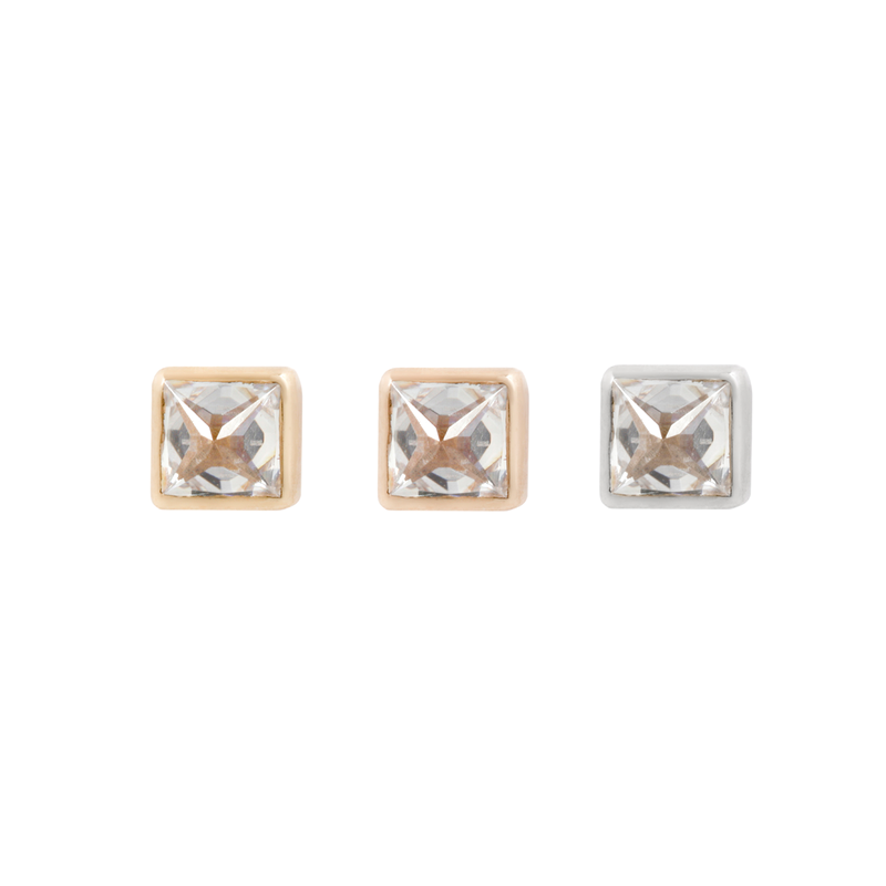 Princess Cut Reverse Set CZ earrings