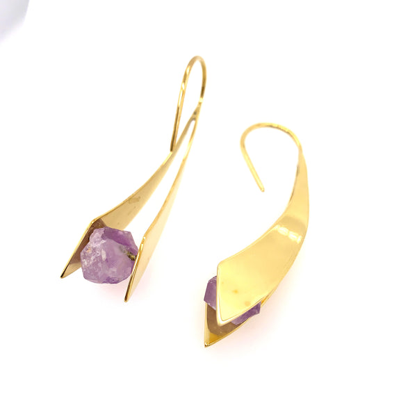 Mini Zahara Earrings - Amethyst Crystal