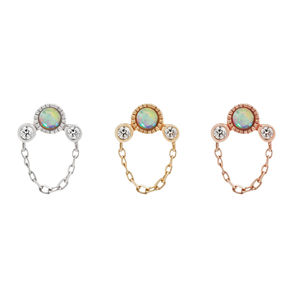 Halston Opal + Chain in solid gold